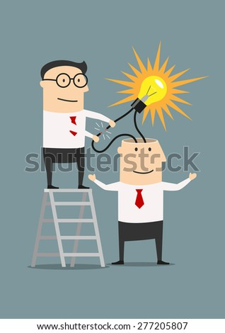 Businessman on stairs creating idea from other human head - stock vector
