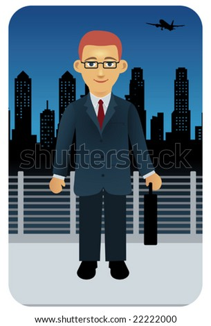 Businessman on the move.  Visit my portfolio for other business people and professions. - stock vector