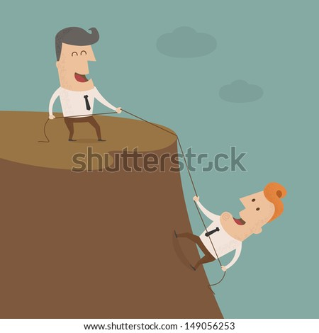 Businessman on the top of a rock helping an other businessman to climb ,Vector EPS 10 - stock vector