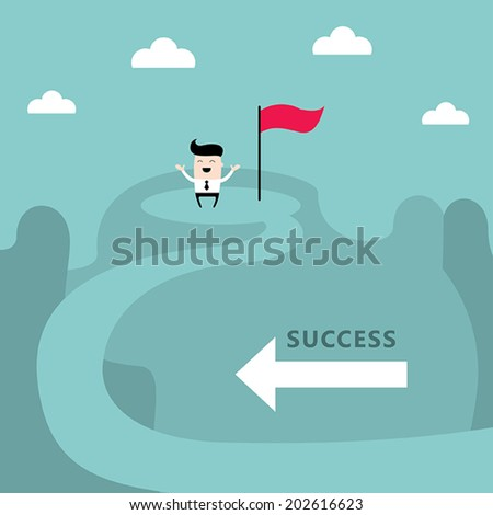 Businessman on the top of the mountain. Success, goal achievement business concept. Vector illustration - stock vector
