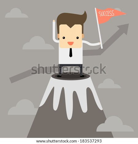 Businessman on the top position vector - stock vector