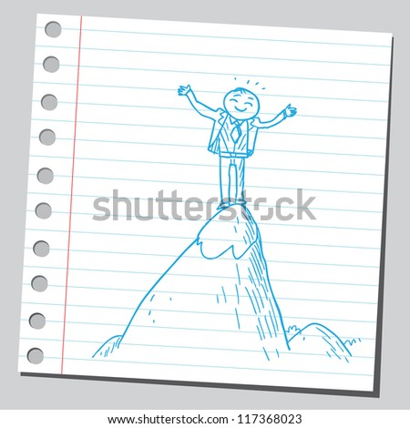 Businessman on top of the hill - stock vector