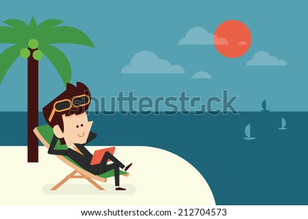 businessman on vacation flat design, vector - stock vector