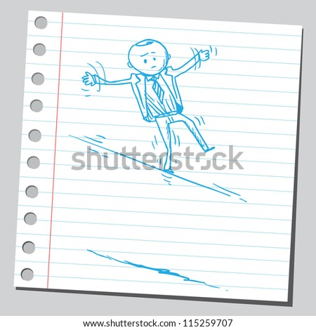 Businessman on wire - stock vector