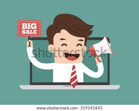 Businessman online advertising. Business concept cartoon illustration. - stock vector