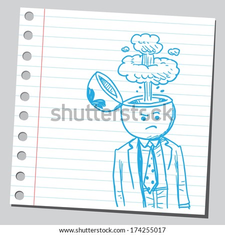Businessman open headed with steam (anger concept) - stock vector