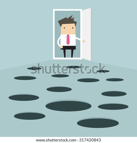 Businessman open the door and looks at hole on the ground - stock vector