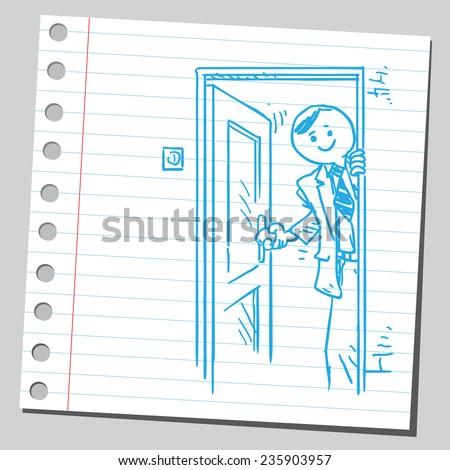 Businessman opening door - stock vector