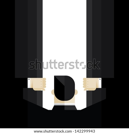 Businessman opening the abstract doors to the future. With copy space for your text in the middle. Idea - New business horizons and career opportunities. Enjoy! - stock vector