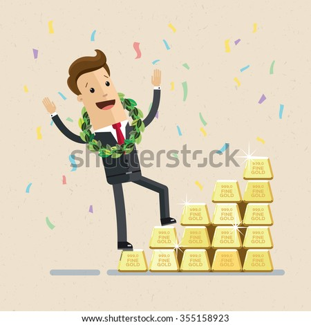 Businessman or manager. A man in a suit climbs a ladder of bars of gold. Illustration, vector EPS10. - stock vector