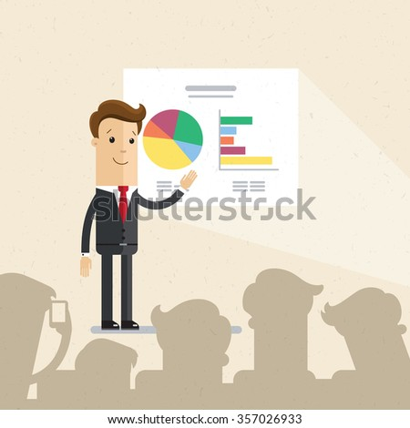 Businessman or manager. A man in a suit making a presentation before an audience. Illustration, vector EPS10. - stock vector