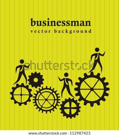 businessman over gears over green background. vector illustration - stock vector