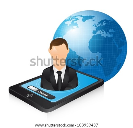 businessman over phone and planet. vector illustration - stock vector