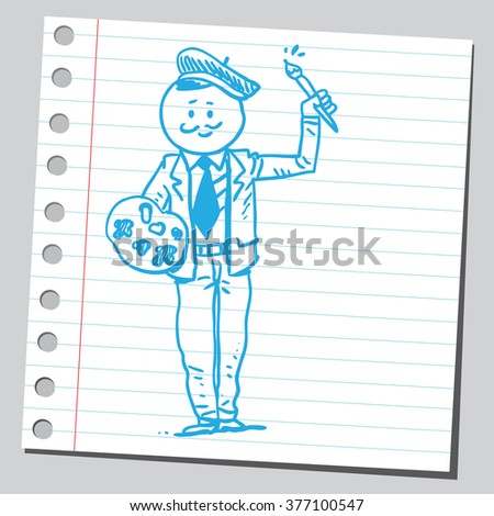 Businessman painter - stock vector