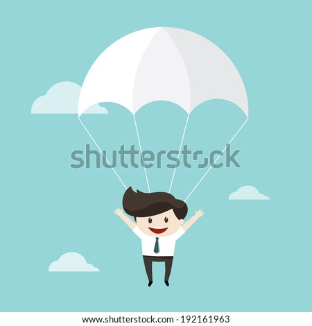 Businessman parachute jump - stock vector
