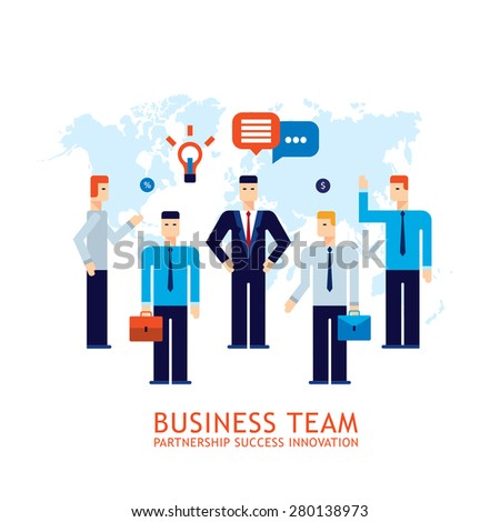 Businessman partnership Teamwork Collaboration Successful business team concept Flat design - stock vector