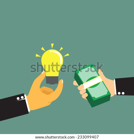 Businessman pay money for buy idea, trading vector illustration. - stock vector