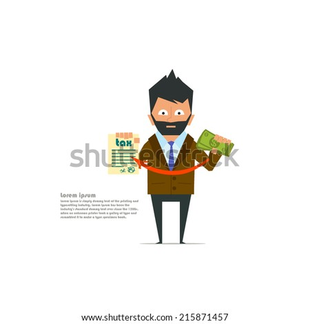 businessman pays taxes. payment of taxes - this is very important. vector illustration. - stock vector