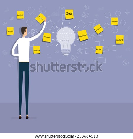 businessman planing and creative to business idea.people business cartoon character - stock vector