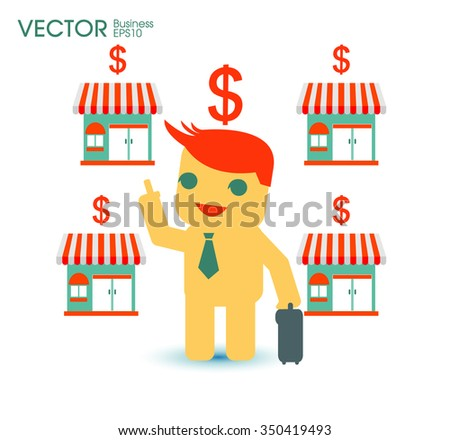 Businessman planing franchise business or another business concept - stock vector