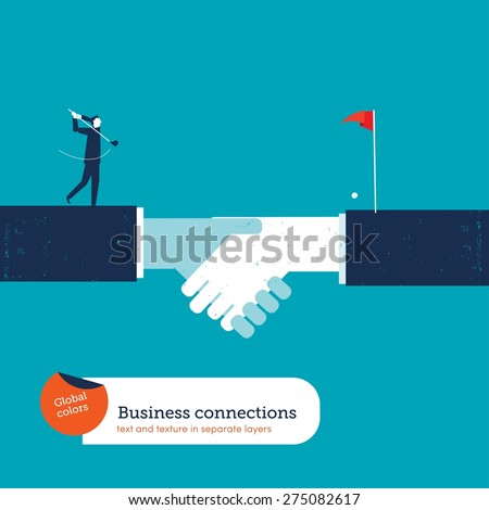 Businessman playing golf on a handshake. Vector illustration Eps10 file. Global colors. Text and Texture in separate layers. - stock vector
