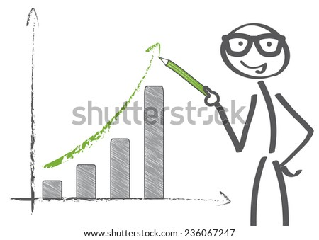 Businessman pointing at graph with rising arrow - stock vector