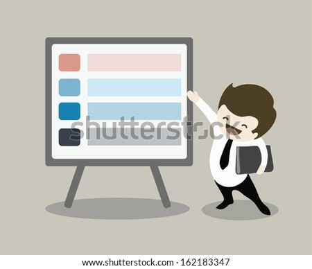 businessman pointing infographic presentation board - stock vector