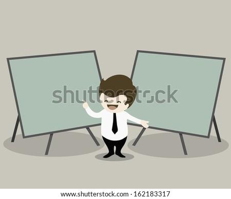 businessman pointing  presentation on green board - stock vector