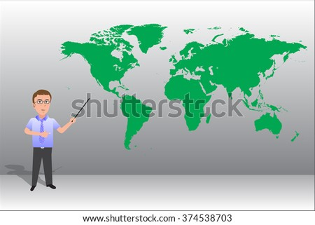 Businessman pointing to a world map background. - stock vector