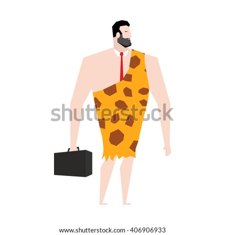Businessman prehistoric. Ancient boss in skin of giraffe. Neanderthal ina tie. Cro-Magnon to case. Homo sapiens business man. paleanthropic with suitcase. Caveman Director - stock vector