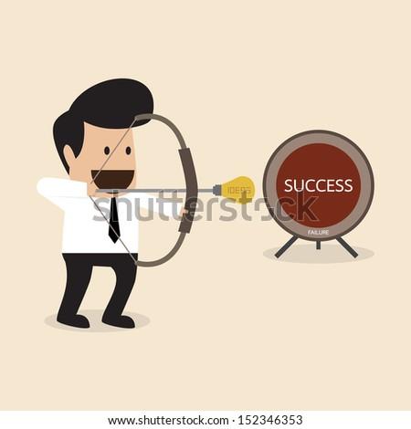 Businessman prepare to launch idea arrow to target - stock vector