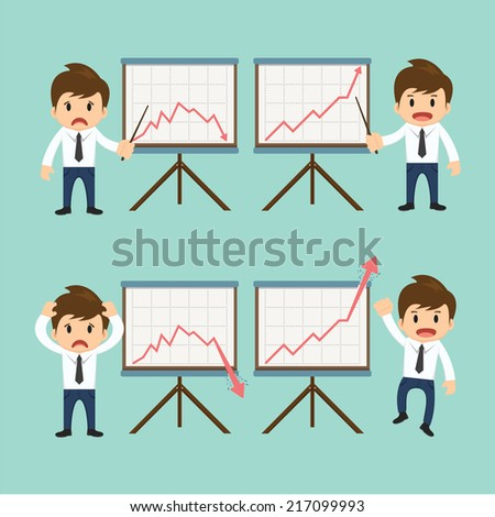 Businessman present growing and present descending vector illustration  - stock vector