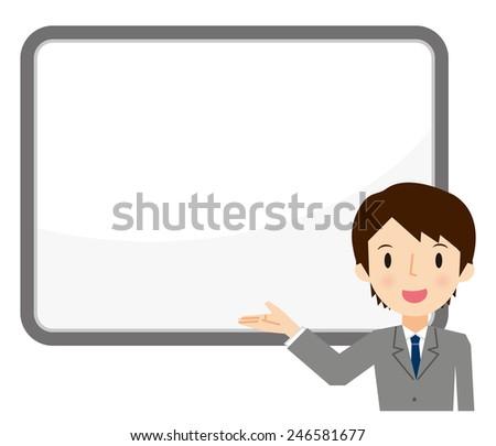 Businessman presentation - stock vector