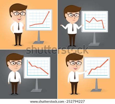 Businessman presentation growth and down chart board set, cartoon business concept vector - stock vector