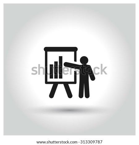 businessman presenting, businessman pointing at a board at a presentation,. Black Business Pictogram. vector illustration - stock vector
