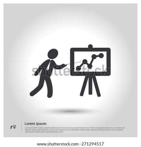 businessman presenting, businessman pointing at a board at a presentation, pictogram icon on gray background. mobile application. Simple flat metro design style. Outline Icon. Flat design style Vector - stock vector