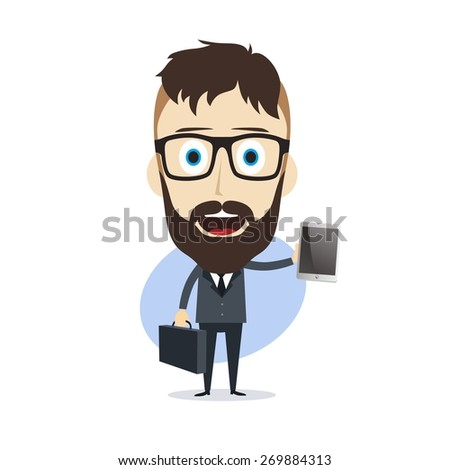 businessman - presenting mobile phone - stock vector