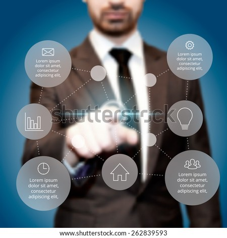 Businessman pressing button on a virtual background. Circle line infographic. Business concept with 7 options, parts, steps or processes. Linear graphic. Blur vector background. - stock vector