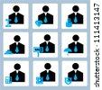 businessman, profile icon set - stock vector
