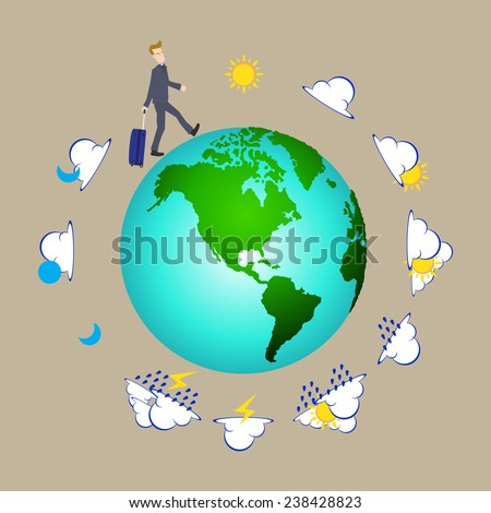 businessman pulling travel bag suitcase around the world with weather icons, Elements of earth map Furnished by NASA. - stock vector