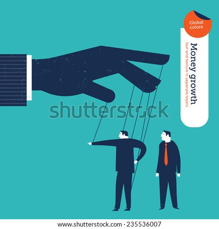 Businessman puppet showing the right way to a businessman. Vector illustration Eps10 file. Global colors. Text and Texture in separate layers. - stock vector