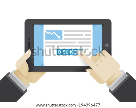 Businessman reading crisis or recession business article and clicking on Dislike button. Idea - Social networks in modern business, Internet business education, New technologies in business.  - stock vector