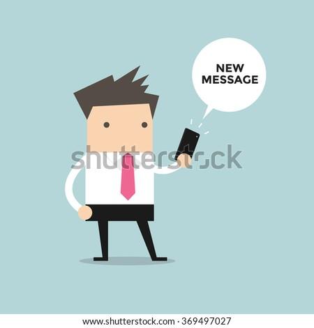 Businessman reading new message vector - stock vector