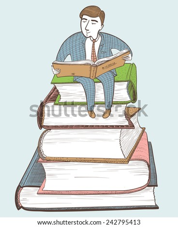 Businessman reading on the mountain of books, color version - stock vector
