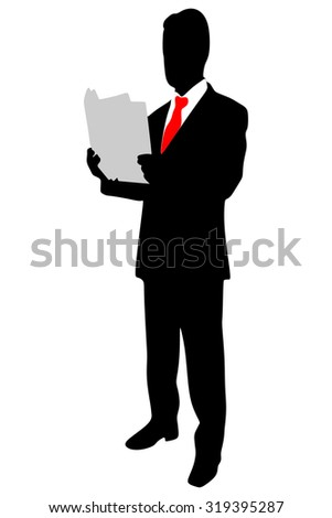 businessman reading papers from work - stock vector