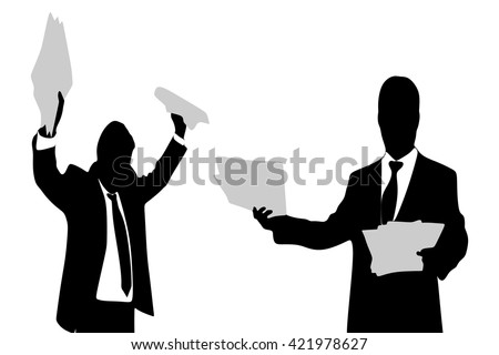 businessman reading papers from work, another business man is angry - stock vector