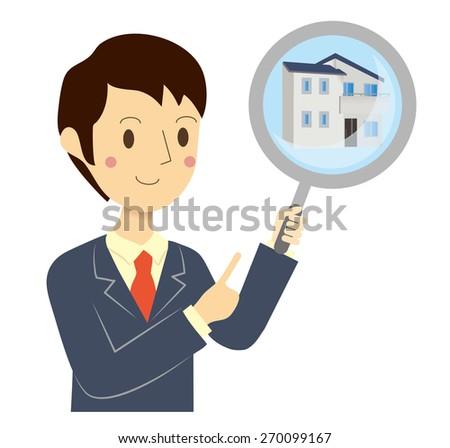 Businessman real estate assessment - stock vector