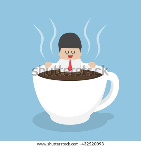 Businessman relaxing in a cup of coffee, coffee break concept - stock vector