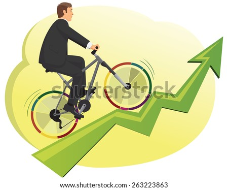 Businessman rides a bike with colorful pie diagrams instead of wheels - stock vector