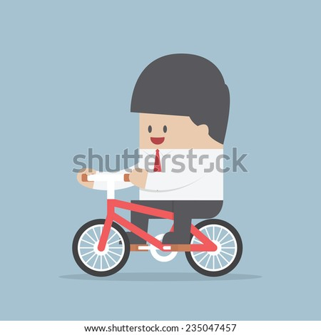 Businessman riding a bicycle to work, VECTOR, EPS10 - stock vector